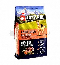 картинка Корм Ontario для собак крупных пород с говядиной и рисом, Ontario Adult Large Beef & Turkey от магазина KupiZOO.ru